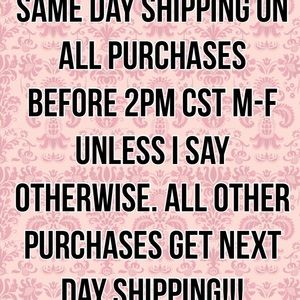 Same or next day shipping on all purchases